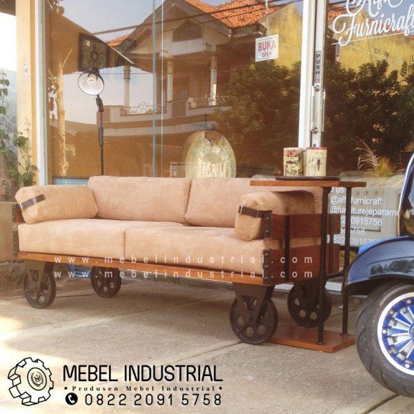 Jual Sofa Industrial Roda Besi Kayu Jati