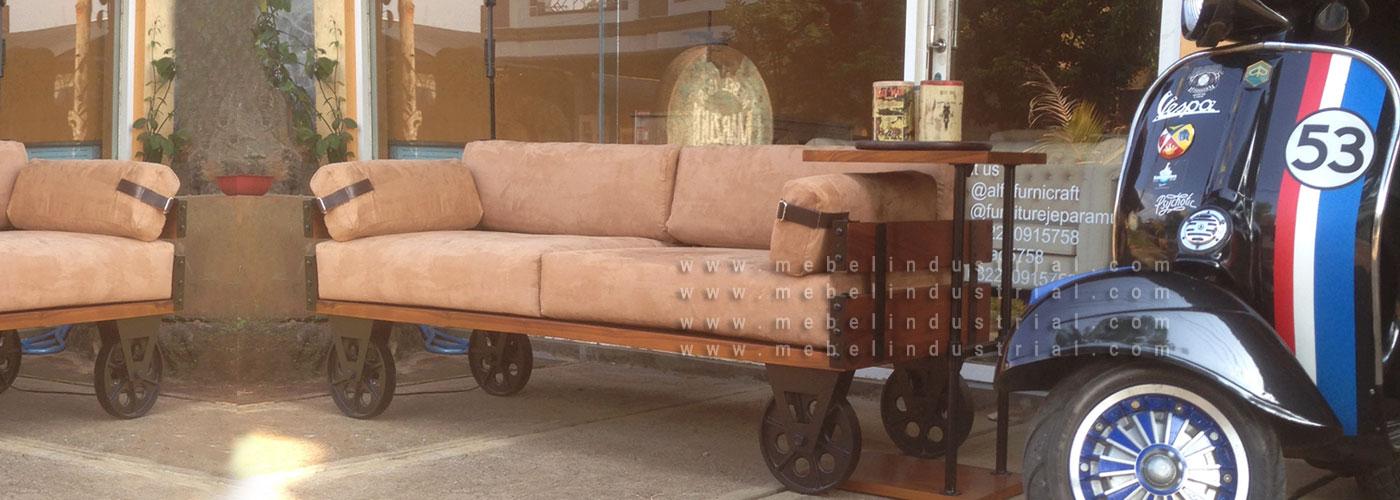 Jual Sofa Industrial Roda Besi Vintage